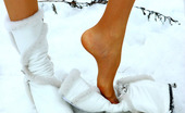 Nylon Feet Line Emmanuel Upskirt Babe Making A Snow Man Right In Her Soft Silky Pantyhose In Winter Nylon Feet Line