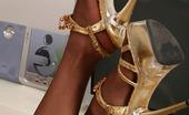 Nylon Feet Line Koshka Passionate Teaser Demonstrating Her Stiletto Heel Sandals And Nyloned Feet Nylon Feet Line