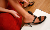 Nylon Feet Line Lola Smashing Looking Babe Admiring Her New High Heel Sandals On Her Nyloned Feet Nylon Feet Line