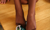 Nylon Feet Line Vanessa Mischievous Babe Can Crush The Can Just With The Help Of Her Nyloned Feet Nylon Feet Line
