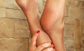 Nylon Feet Line Mirabel Just After Shower A Gal Strokes Her Nyloned Feet And Puts On Her Sexy Dress Nylon Feet Line