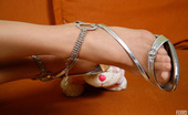 Nylon Feet Line Milana Sizzling Hot Brunette Wraps Her Nyloned Feet Around Her Favorite Plush Toy Nylon Feet Line