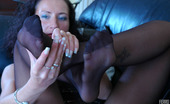 Nylon Feet Line Regina Vivacious Chick Stretches Her Black Hose While Demonstrating Her Yummy Feet Nylon Feet Line