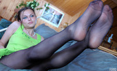 Nylon Feet Line Laura Stunning Babe Shows Her Nyloned Feet While Playing The Game Of Billiards Nylon Feet Line