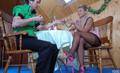 Nylon Feet Line Cornelia & Rolf Sultry Gal Flashes Her Feet In Reinforced Toe Hose Before Suck-N-Fuck Action Nylon Feet Line
