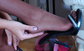 Nylon Feet Line Ophelia Curly-Head Blonde Gal Chooses The Best High Heel Shoes For Her Nyloned Feet Nylon Feet Line