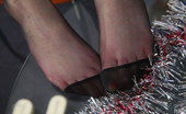 Nylon Feet Line Linda Slim-Legged Gal Wears Reinforced Toe Hose While Showing Off Her Lovely Feet Nylon Feet Line