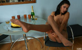Nylon Feet Line Belinda Doll-Faced Cutie Touches A Banana With Her Eager Feet Clad In Sheer Nylon Nylon Feet Line