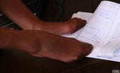 Nylon Feet Line Bony Naughty Flasher Playfully Gives A Glimpse Of Her Yummy Feet In Tan Tights Nylon Feet Line