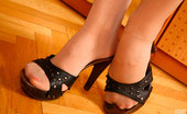 Nylon Feet Line Nicole Hot Gal Admires Her High Heel Sandals And Her Well-Maintained Nyloned Feet Nylon Feet Line