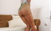 Nylon Feet Line 564022 Marta Red-Haired Babe Takes Off Open Toe Stiletto Heels Exposing Her Nyloned Feet Nylon Feet Line