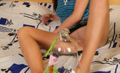 Nylon Feet Line Oksana Footsie Girl In Barely Visible Hose Rolls Glass Beads With Pedicured Toes Nylon Feet Line