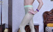 Nylon Feet Line 564094 Lily Trendy Chick Shows Off High Arc Feet In Green Tights And Various High Heels Nylon Feet Line