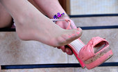 Nylon Feet Line Lily Foxy Brunette Wears Sheer Nylons And Sandals Matching Her Toenail Polish Nylon Feet Line