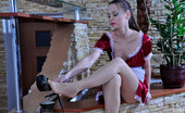 Nylon Feet Line Mercy Leggy Maid Rests Her Tired Nylon Clad Feet While Playing With A Dildo Toy Nylon Feet Line