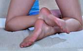 Nylon Feet Line Frances Footsie Girl Shows Off Her Feet In Barely There Tights And Silver Sandals Nylon Feet Line