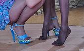 Nylon Feet Line Margarita Leggy Girls Step Out Of Their Heeled Sandals For Lesbian Nylon Foot Play Nylon Feet Line