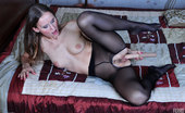 Nylon Feet Line Bessy Teasing Hottie Boasts Feet In Reinforced Sole Tights While Stuffing Her Ass Nylon Feet Line