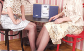 Pantyhose 1 Nora & Angelina Salacious Babe Bobbing Her Head Up And Down Pussy Encased In Tan Pantyhose Pantyhose 1