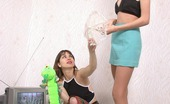 Pantyhose 1 Klara & Sveta Horny Housewife Kneeling And Pampering Long Legs In Control Top Pantyhose Pantyhose 1