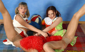 Pantyhose 1 Erika & Tina Sporty Cheerleaders Slipping Their Heads Into Shiny Flesh-Colored Pantyhose Pantyhose 1