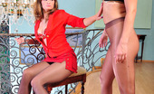 Pantyhose 1 Megan & Gertie Drunken Vixens Clad In Sheer-To-Waist Pantyhose Grind Asses And Toy Pussies Pantyhose 1