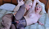 Pantyhose 1 Natali & Irene Fair-Haired Sapphos In Patterned Pantyhose Play Some Tricks With A Strap-On Pantyhose 1