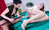 Pantyhose 1 Anna & Cecilia Sultry Brunette Lowers A Blonde'S Silky Hose To Stuff Her Pussy With A Cue Pantyhose 1