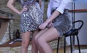 Pantyhose 1 Denis & Aubrey Strapon-Armed Lesbo Blonde Gropes And Fucks Another Girl Through Pantyhose Pantyhose 1