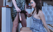 Pantyhose 1 Frances Strapon-Armed Lesbian Talks Her Girlfriend Into Pantyhose Strap-On Riding Pantyhose 1