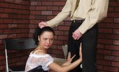 Pantyhose Line Klaudia & Andrey Lascivious Waitress In Soft Silky Pantyhose Getting Her Booty Spanked Hard Pantyhose Line