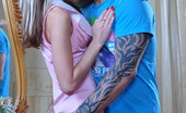 Pantyhose Line Gina Slim-Legged Doll Straddling A Tattooed Stud In Her Tan Sheer-To-Waist Hose Pantyhose Line