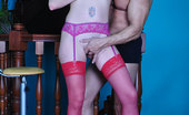 Pantyhose Line Mercy Sleazy Redhead In Raunchy Red Nylons Gets Licked And Dicked On A Bar Stool Pantyhose Line