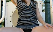 Young Stacey Lusty Brunette Young Babe Stacey Flashing Her Pierced Hooters On The Playground Young Stacey