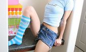 Wild Addison 570128 Gorgeous Brunette Teen In Blue Socks And Jeans Skirt Addison Strips And Shows Her Hot Body Wild Addison