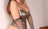 UK Teaze Becky Speed Becky In A Shiny Gold Top Strips For You UK Teaze