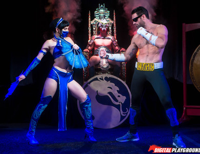 Aria Alexander Cosplays The Asian Fan Fighter In Mortal Kombat 608072 Brunette With Shaved Pussy Gets Slammed By An Arcade Character