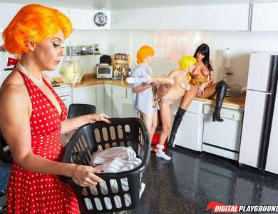 August Ames And Maid Natalia Starr Share One Dick In The Kitchen 608086 Milf pornstars Crave And Steal Penis From Each Other