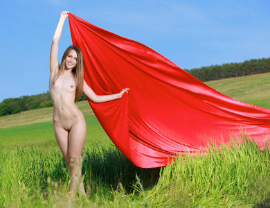 Violet Radusi Gorgeous Woman Modeling Naked With Red Towel 608112 Outdoor Brunette Spreading Her Hot Legs