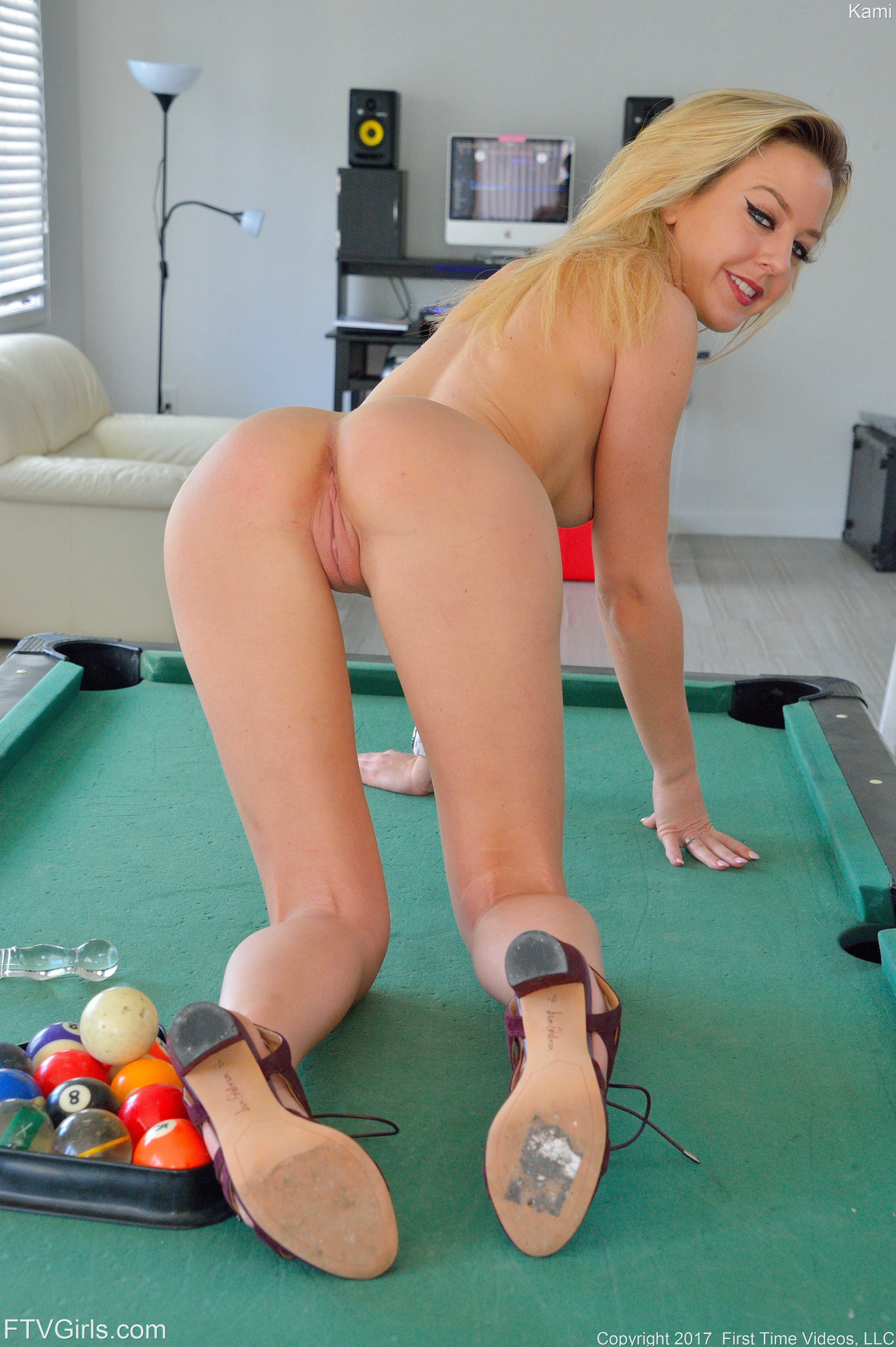 Provocative Kami Stimulate Pussy With Giant Dildo 608114 Young Blonde Chick Bending Ass On Snooker Table