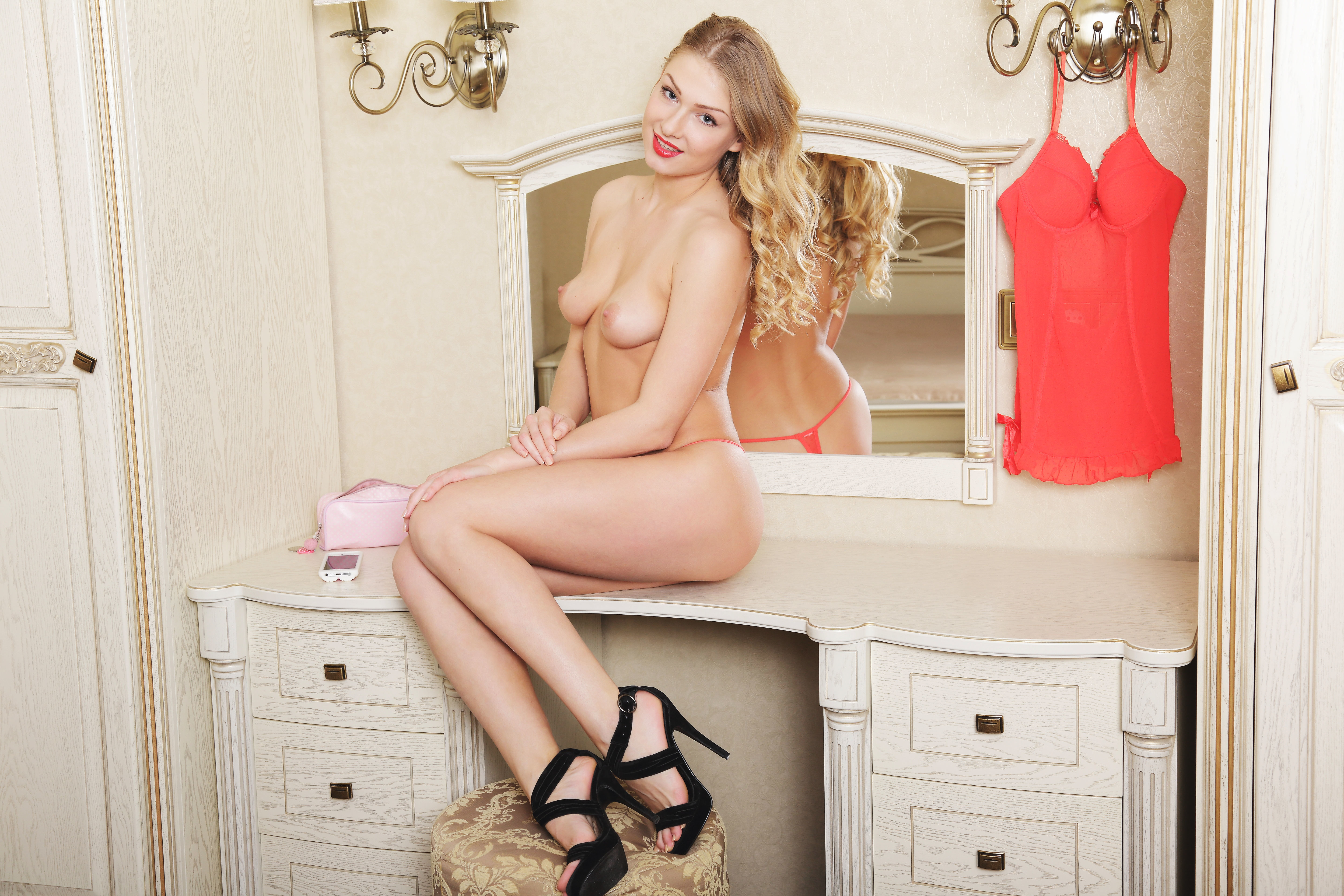 Lucy Heart Strips Off Red Lingerie In Dressing Room 608122 Attractive Blonde Fingers Wet Pussy