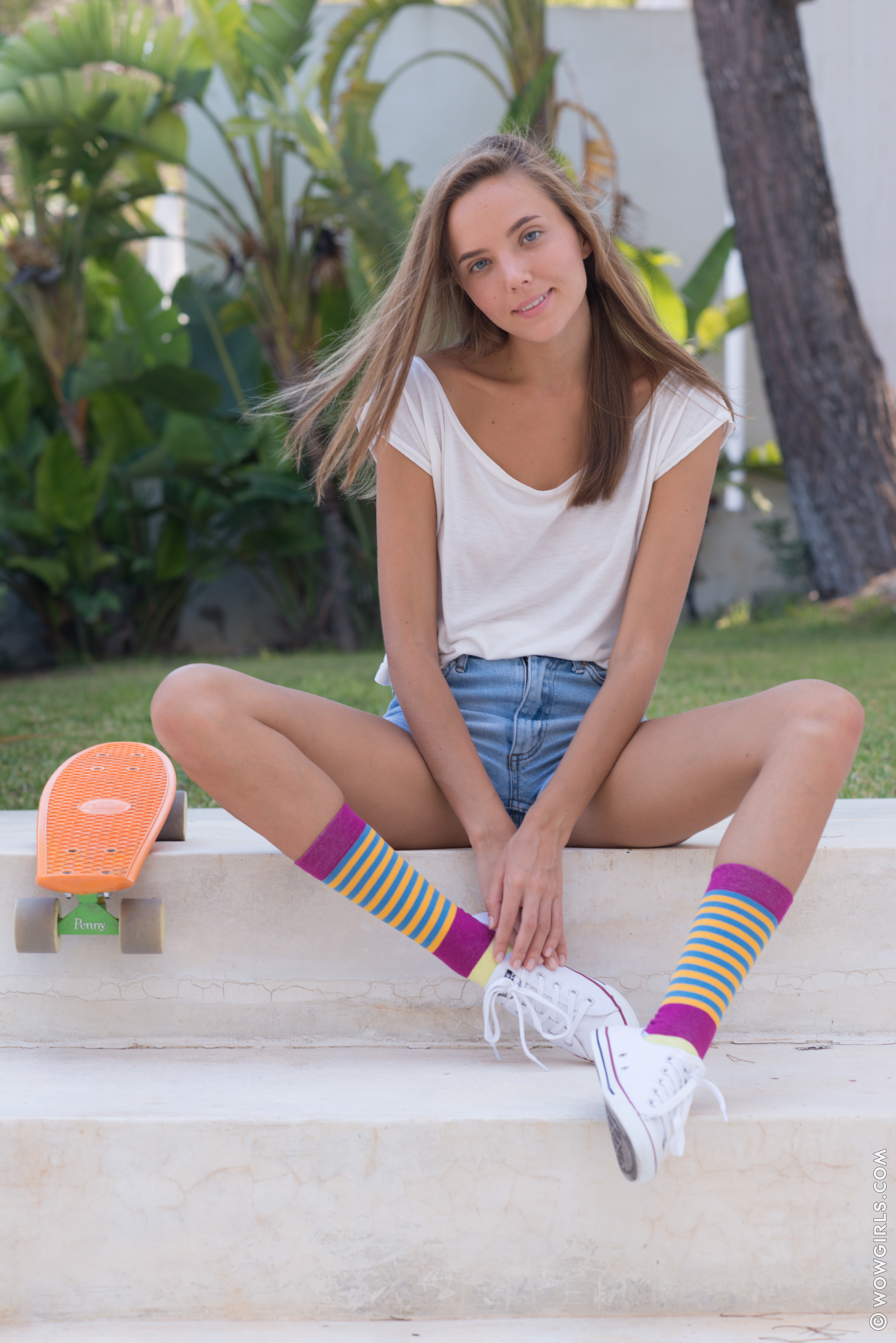 Clover Sits On Skateboard And Pulls Off Her White Tshirt 608123 Denim Short Jeans Young Blonde Girl Naughty Naked