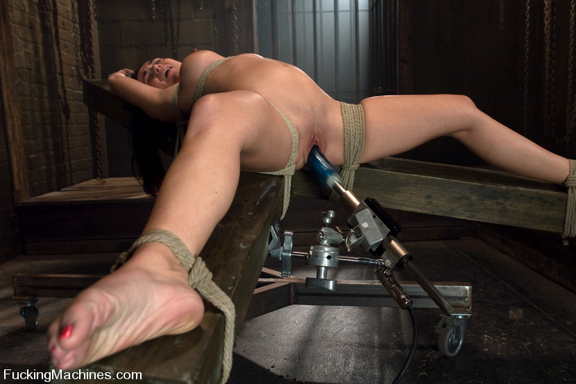 Cindy dollar in brunette in bondage was assaulted by sex machine, hd