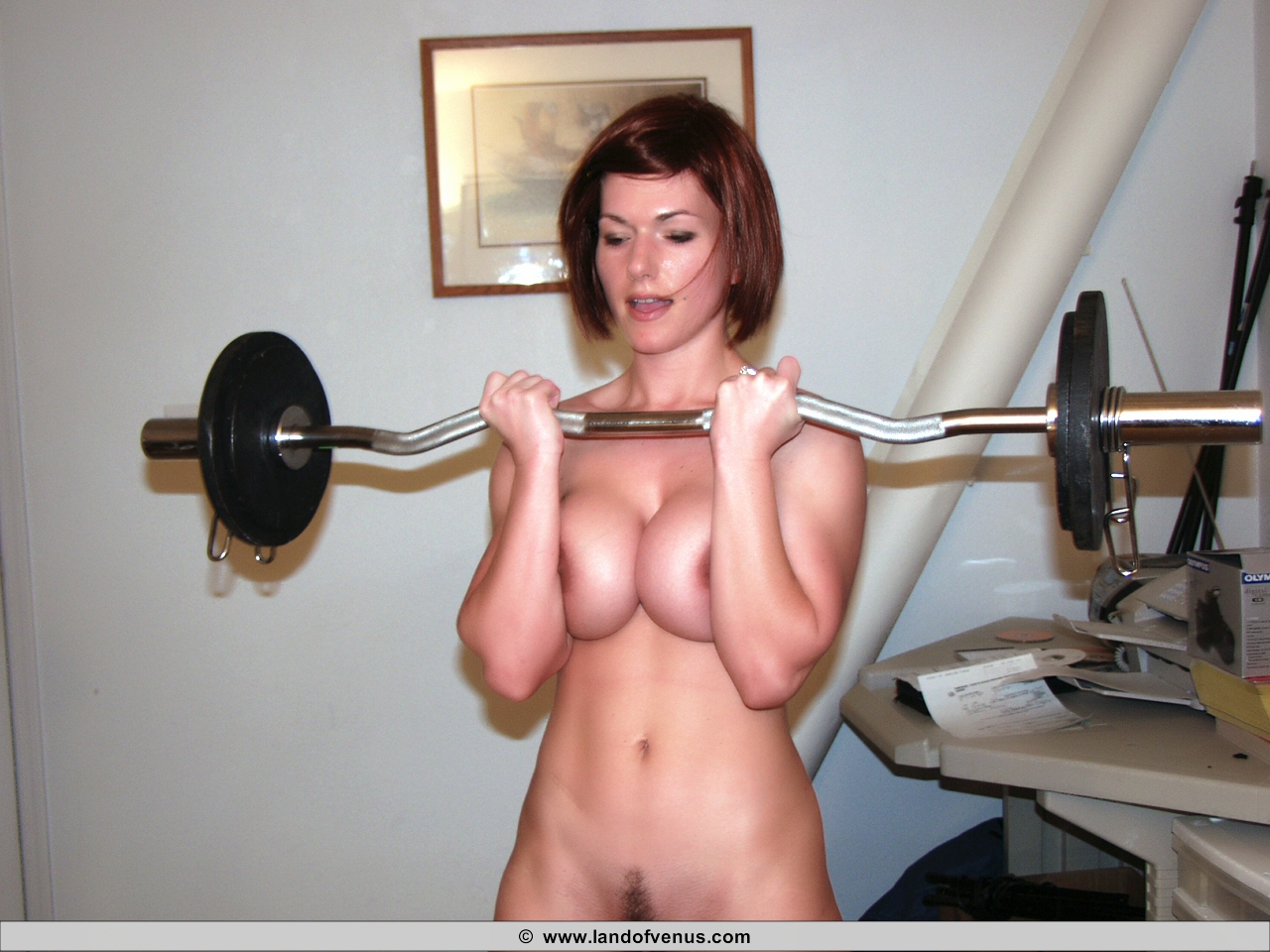 Denise Milani Fully Nude Lifting Weights