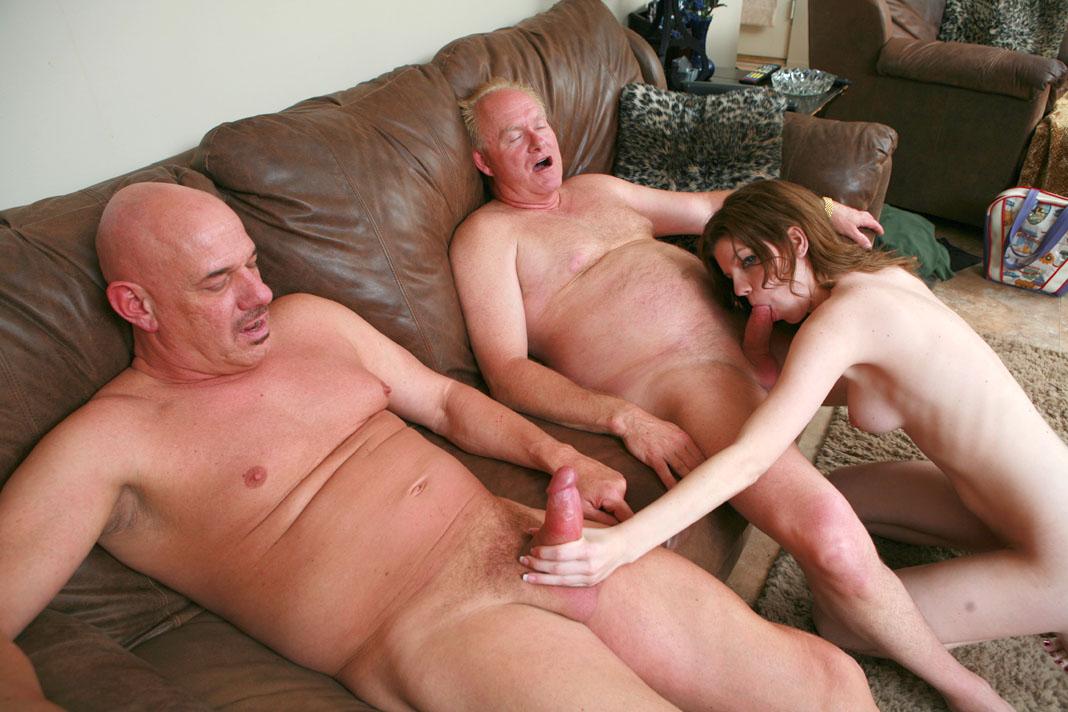 Naked granny having sex