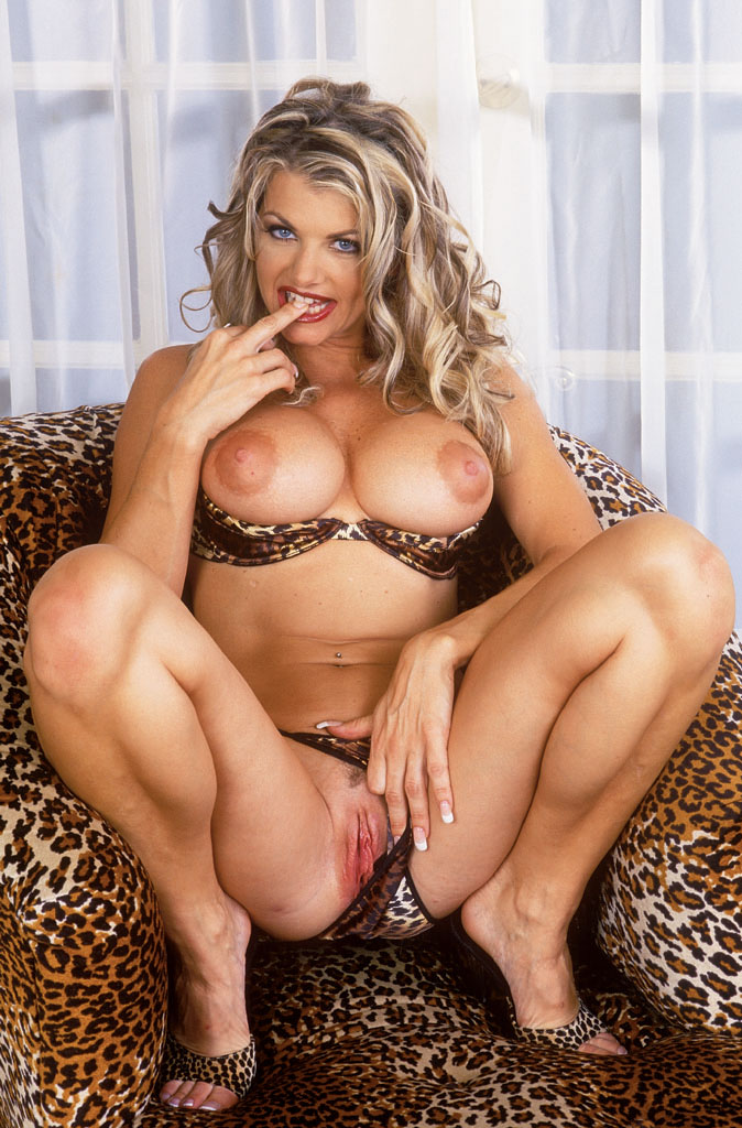 Busty vicky vette in black stockings gets naked